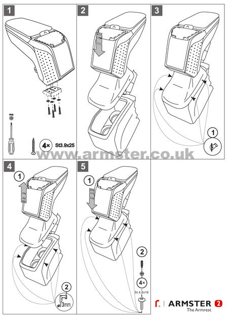 peugeot 208 2012> armster 2 armrest - armster uk