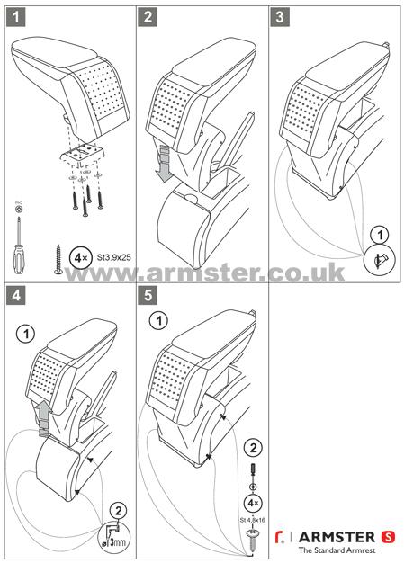PEUGEOT 307 2001-2008 Armster S Armrest Centre Console Arm Rest Black